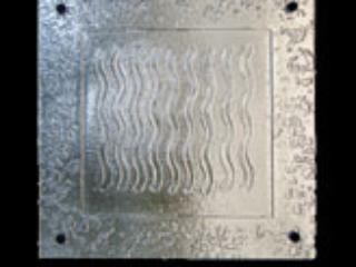 3 sample tiles slumped glass art