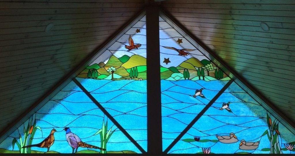 commissioned leadlight window bird scene